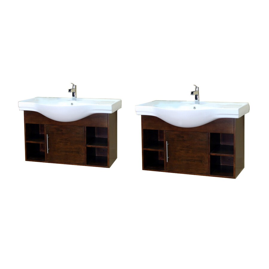 Bellaterra Home Medium Walnut Integral Double Sink Birch Bathroom Vanity with Vitreous China Top (Common: 81-in x 20-in; Actual: 81-in x 20.1-in)