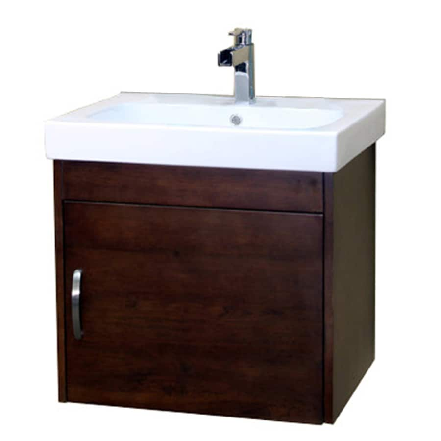 Bellaterra Home Medium Walnut Integral Single Sink Birch Bathroom Vanity with Vitreous China Top (Common: 24-in x 19-in; Actual: 24.4-in x 19.5-in)