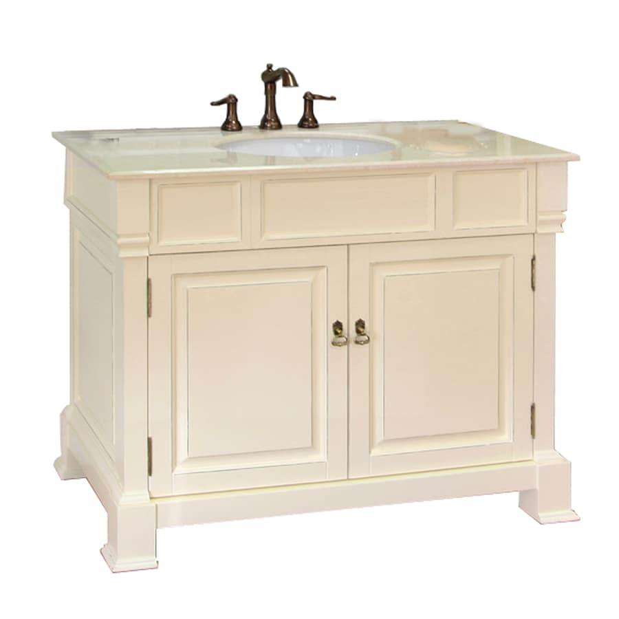 Bellaterra Home Cream White (Rub Edge) Undermount Single Sink Birch Bathroom Vanity with Natural Marble Top (Common: 42-in x 22-in; Actual: 42-in x 22.5-in)