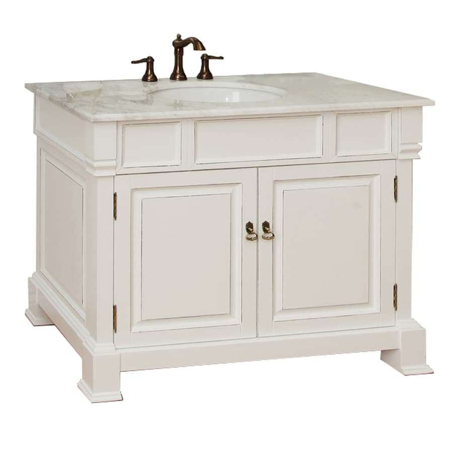 Bellaterra Home White (Rub Edge) Undermount Single Sink Birch Bathroom Vanity with Natural Marble Top (Common: 42-in x 22-in; Actual: 42-in x 22.5-in)