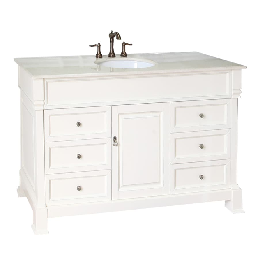 Bellaterra Home Cream White (Rub Edge) Undermount Single Sink Birch Bathroom Vanity with Natural Marble Top (Common: 60-in x 22-in; Actual: 60-in x 22.5-in)