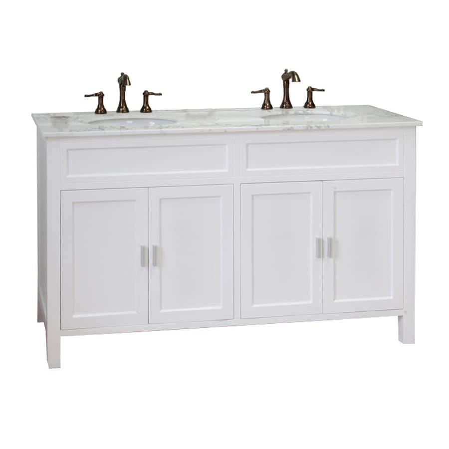 Bellaterra Home White Undermount Double Sink Birch Bathroom Vanity with Natural Marble Top (Common: 60-in x 22-in; Actual: 60-in x 22-in)