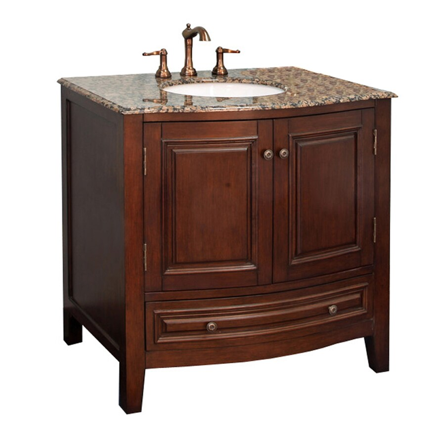 Bellaterra Home Dark Walnut Undermount Single Sink Birch Bathroom Vanity with Natural Marble Top (Common: 36-in x 22-in; Actual: 36-in x 22-in)