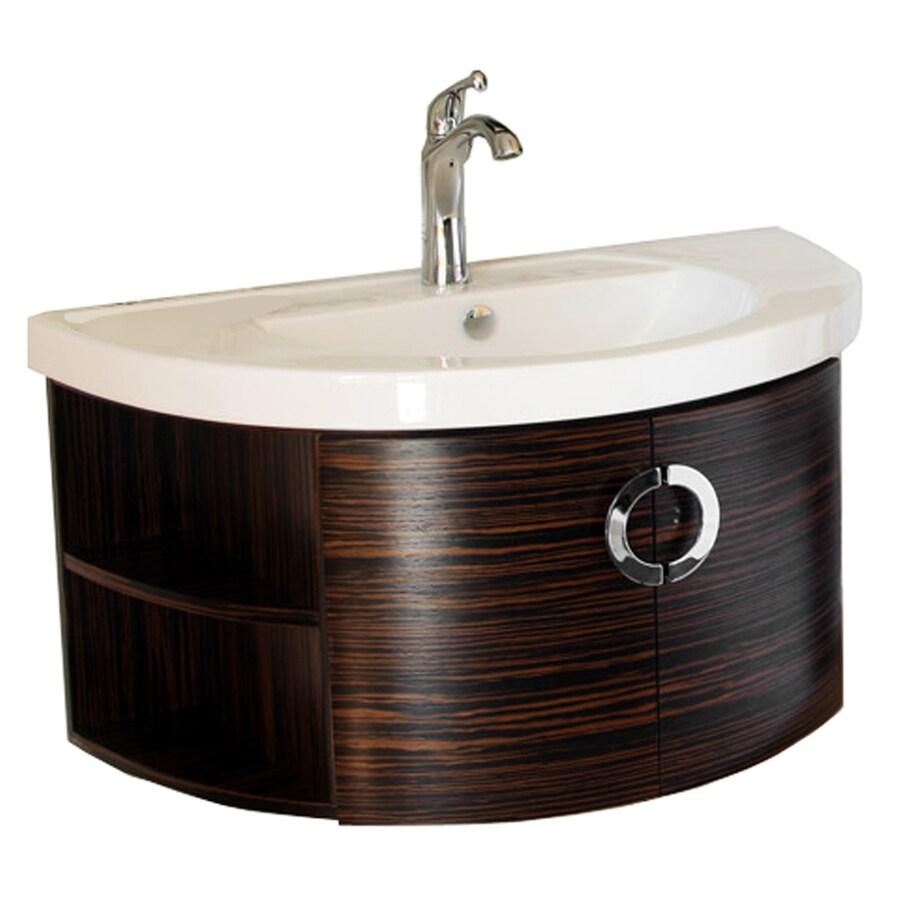 Bellaterra Home Ebony/Zebra Belly Sink Single Sink Oak Bathroom Vanity with Vitreous China Top (Common: 34-in x 19-in; Actual: 34-in x 19.7-in)