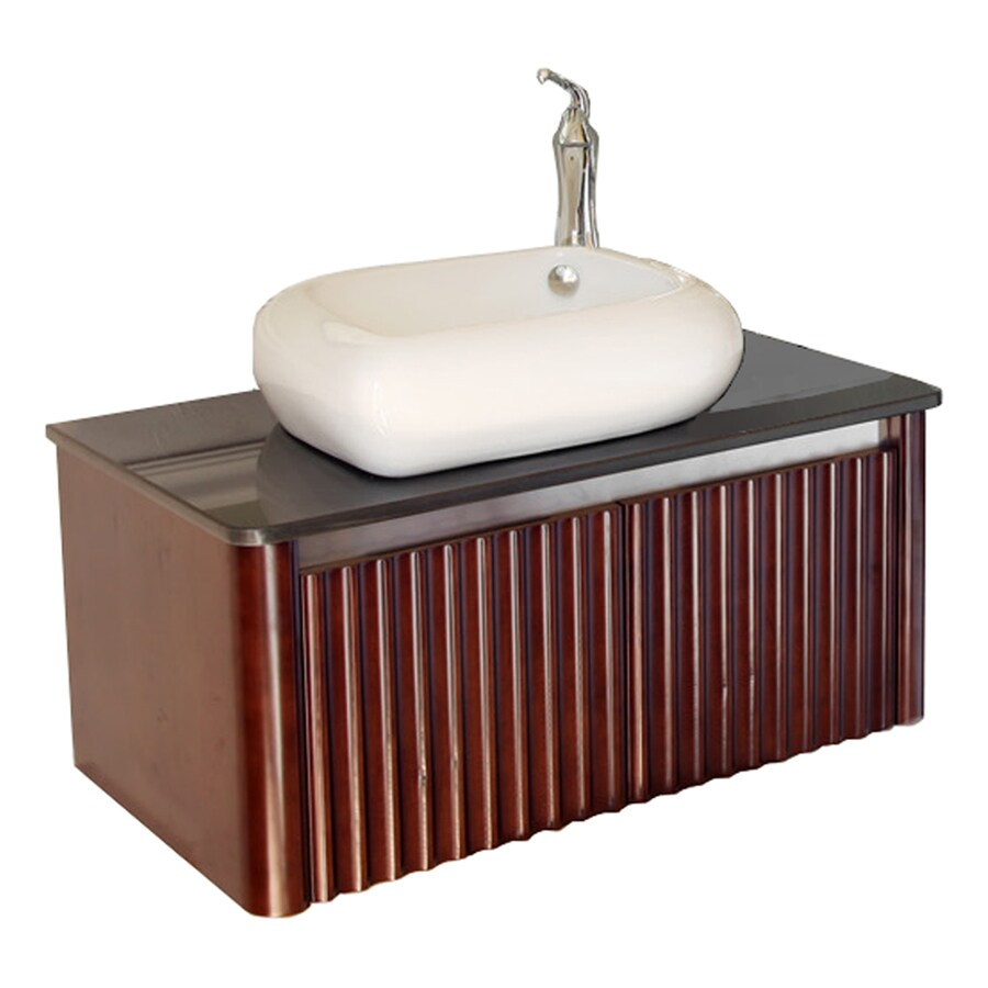 Bellaterra Home Walnut Vessel Single Sink Oak Bathroom Vanity with Natural Marble Top (Common: 32-in x 19-in; Actual: 32.5-in x 19.25-in)