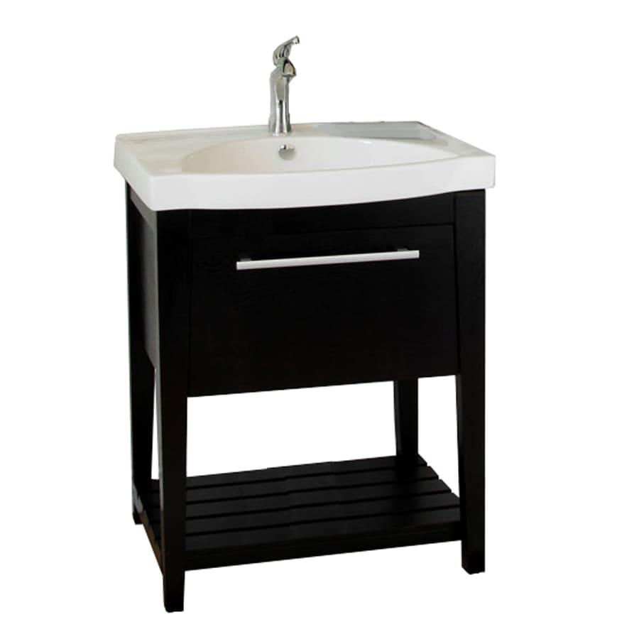 Bellaterra Home Black Drop-in Single Sink Oak Bathroom Vanity with Vitreous China Top (Common: 27-in x 18-in; Actual: 27.5-in x 18-in)