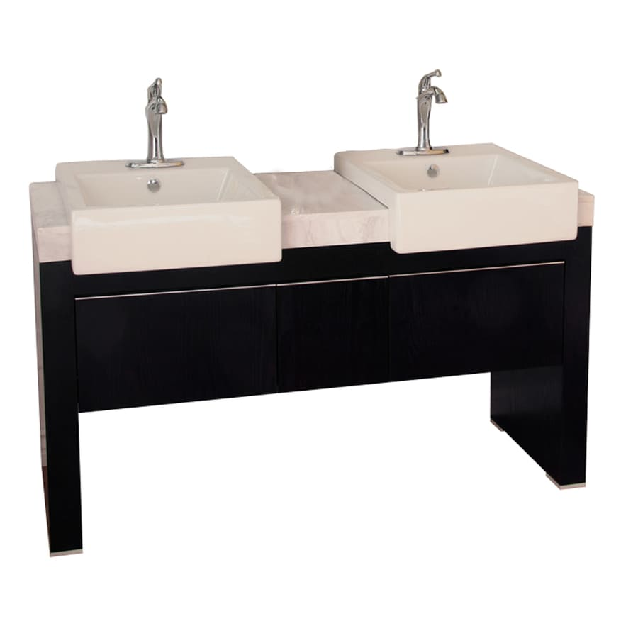 Bellaterra Home Black Vessel Double Sink Oak Bathroom Vanity with Natural Marble Top (Common: 57-in x 20-in; Actual: 57.75-in x 20-in)