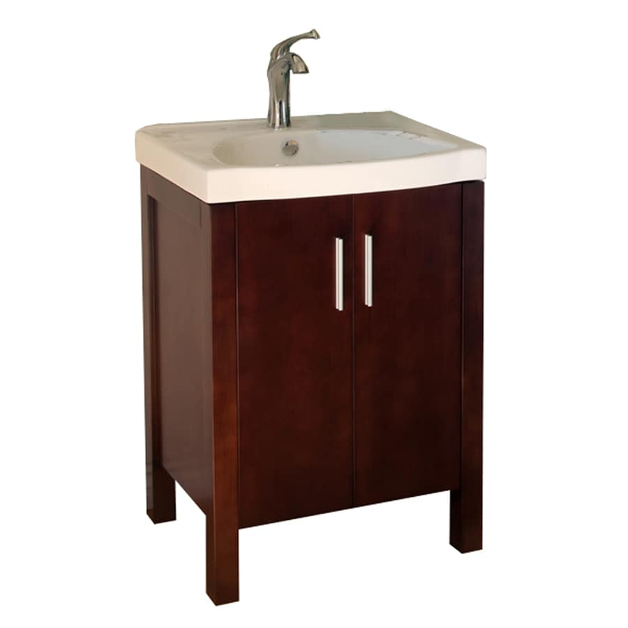 Bellaterra Home Walnut Belly Sink Single Sink Oak Bathroom Vanity with Vitreous China Top (Common: 24-in x 18-in; Actual: 24-in x 18.5-in)
