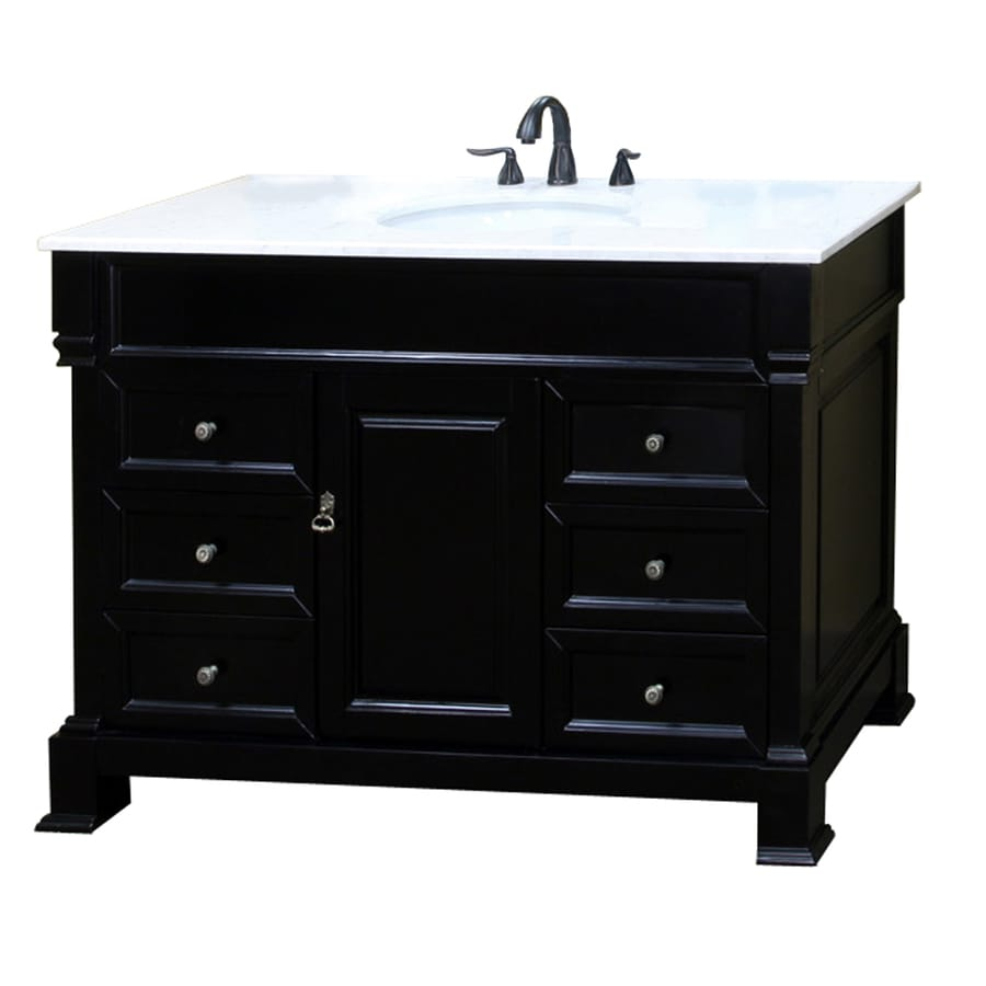 Bellaterra Home Espresso Undermount Single Sink Birch Bathroom Vanity with Natural Marble Top (Common: 60-in x 22-in; Actual: 60-in x 22.5-in)