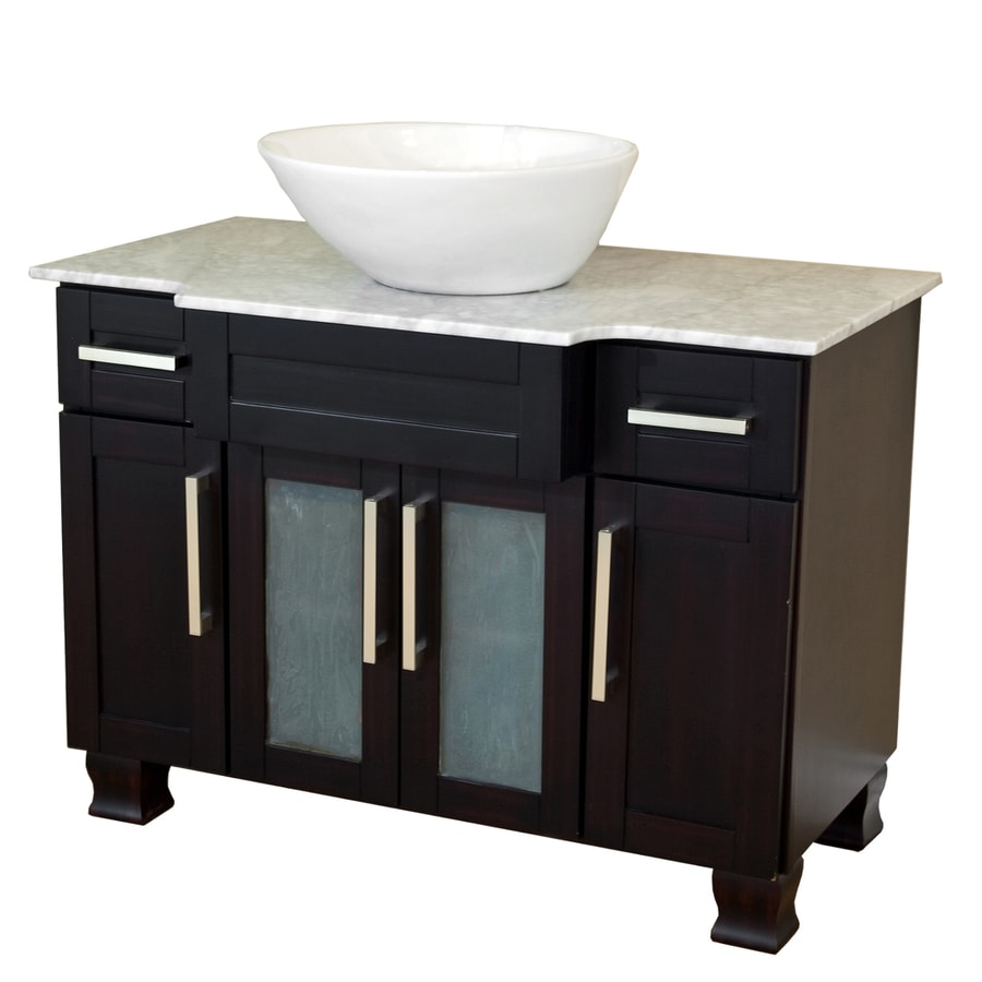 Bellaterra Home Dark Mahogany Vessel Single Sink Birch Bathroom Vanity with Natural Marble Top (Common: 40-in x 23-in; Actual: 40-in x 23-in)