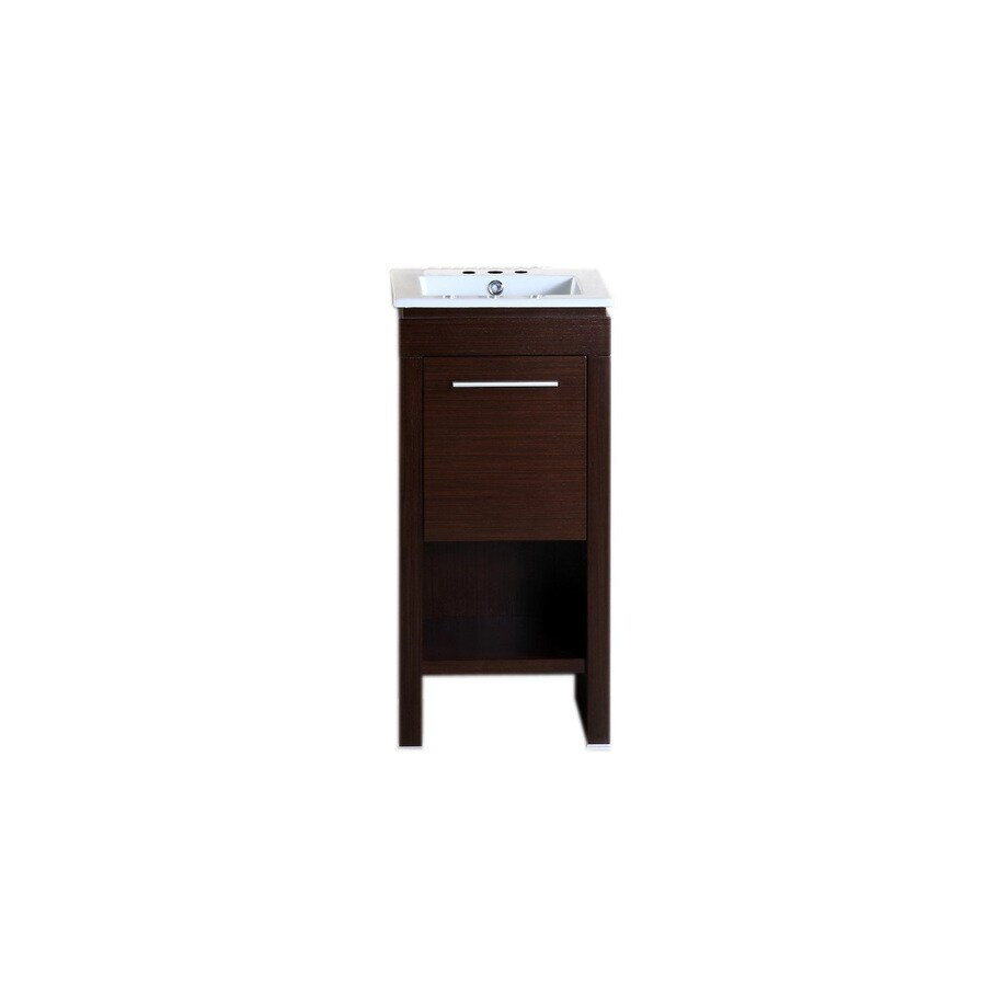 Bellaterra Home Wenge Self-Rimming Single Sink Birch Bathroom Vanity with Ceramic Top (Common: 16-in x 16-in; Actual: 15.7-in x 15.7-in)
