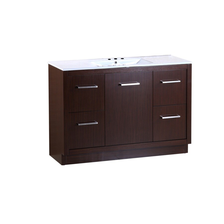 Bellaterra Home Wenge Self-Rimming Single Sink Birch Bathroom Vanity with Ceramic Top (Common: 48-in x 18-in; Actual: 48-in x 18-in)
