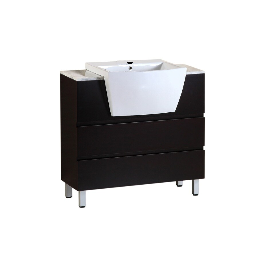 Bellaterra Home Dark Espresso Belly Sink Single Sink Birch Bathroom Vanity with Natural Marble Top (Common: 36-in x 18-in; Actual: 36-in x 18-in)