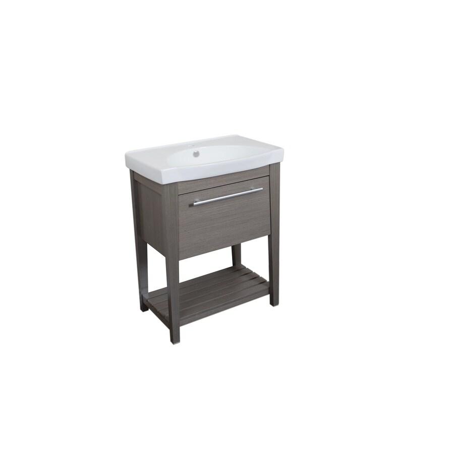 Bellaterra Home Gray Integral Double Sink Birch Bathroom Vanity with Ceramic Top (Common: 28-in x 18-in; Actual: 27.5-in x 18-in)