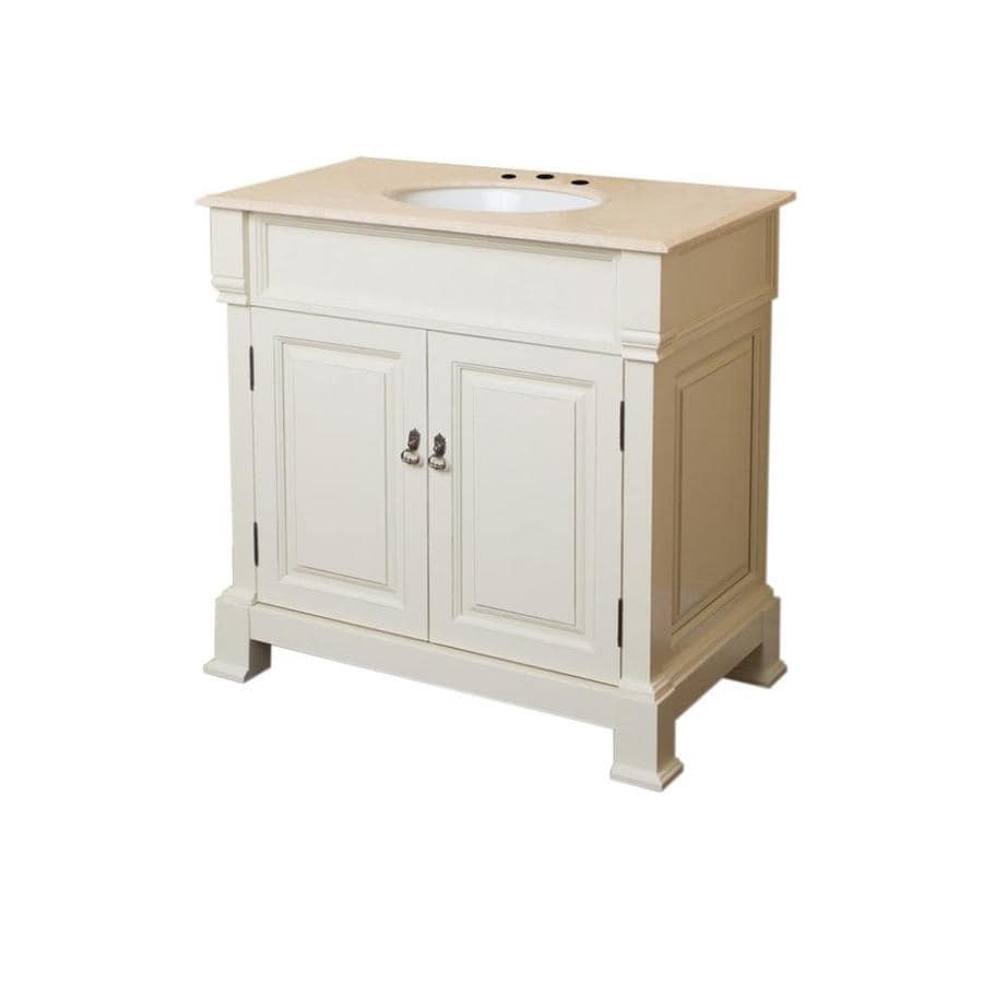 Bellaterra Home Cream White (Rub Edge) Undermount Single Sink Birch Bathroom Vanity with Natural Marble Top (Common: 36-in x 23-in; Actual: 36-in x 22.5-in)