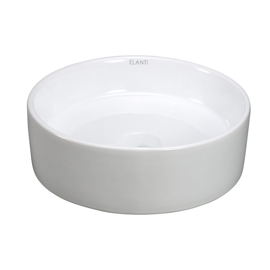 Shop Elanti White Vessel Round Bathroom Sink at Lowes.com
