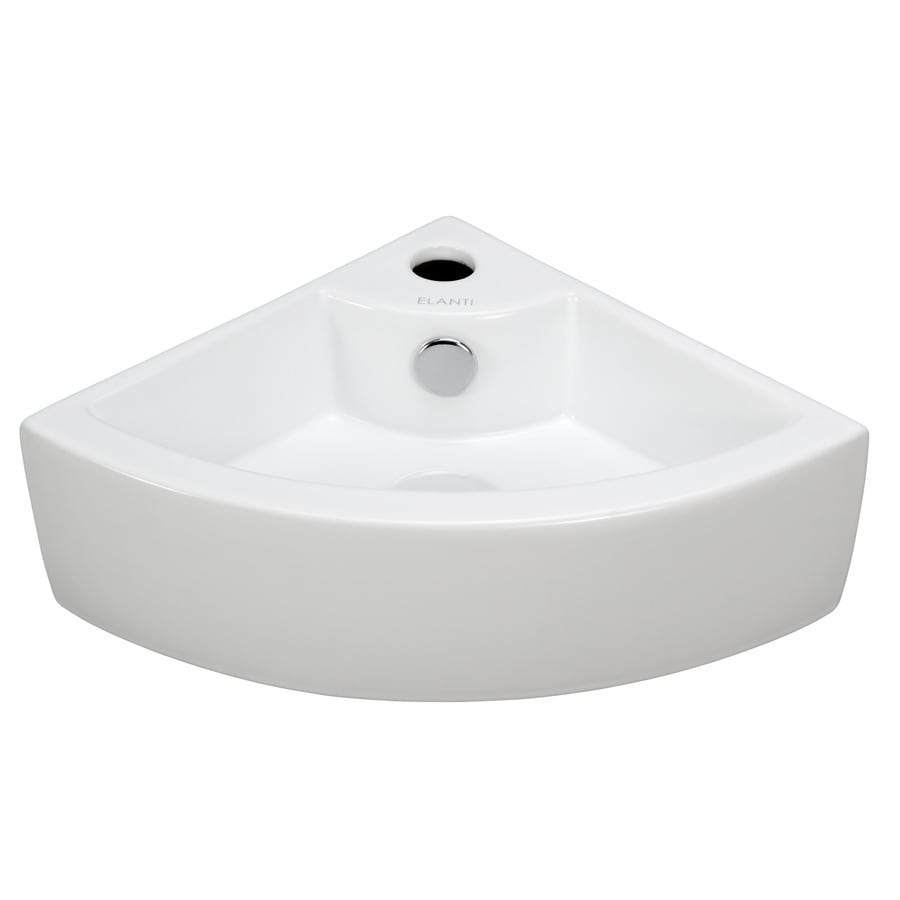 ... Elanti White Wall-Mount Round Bathroom Sink with Overflow at Lowes.com