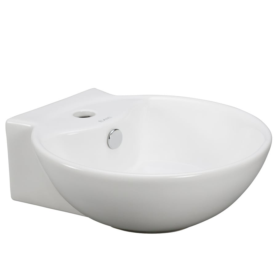 Elanti White Wall-Mount Round Bathroom Sink with Overflow