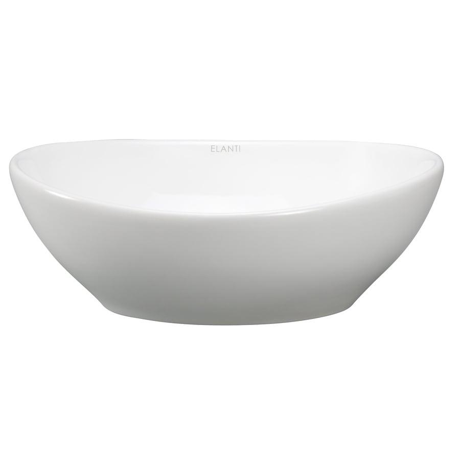 Shop elanti white vessel oval bathroom sink at - Vessel sinks at lowes ...