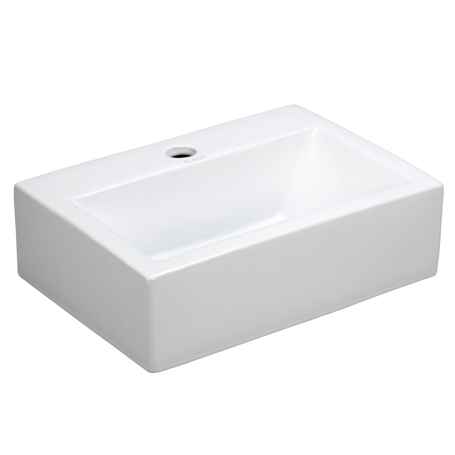 shop elanti white wall mount rectangular bathroom sink at