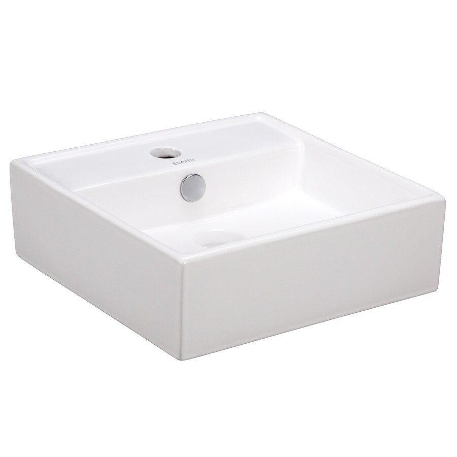 Elanti White Wall-Mount Square Bathroom Sink with Overflow