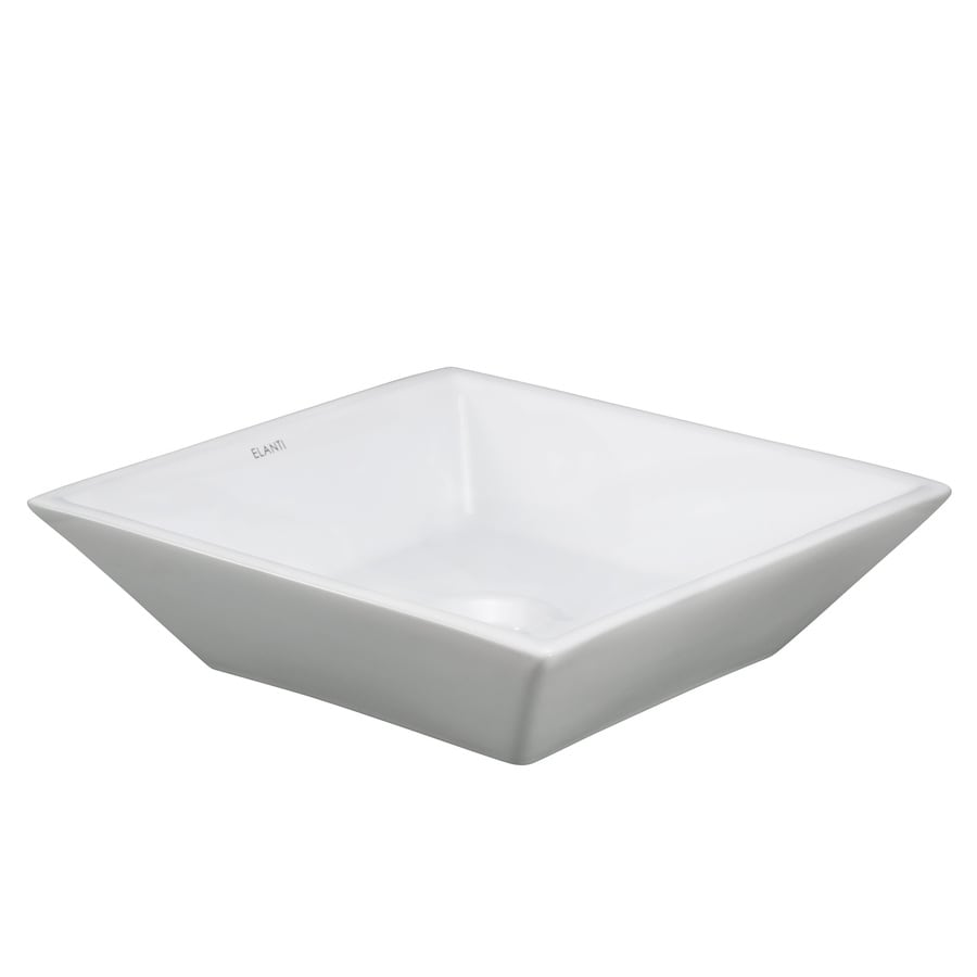 Shop Elanti White Vessel Square Bathroom Sink at Lowes.com