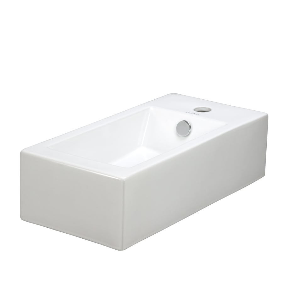 Shop Elanti White Wall-Mount Rectangular Bathroom Sink with Overflow ...