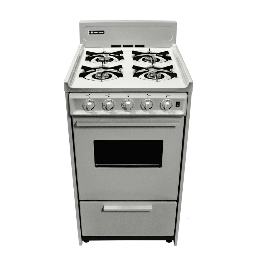 Brown Freestanding 2.46-cu ft Gas Range (White) (Common: 20-in; Actual: 20-in)