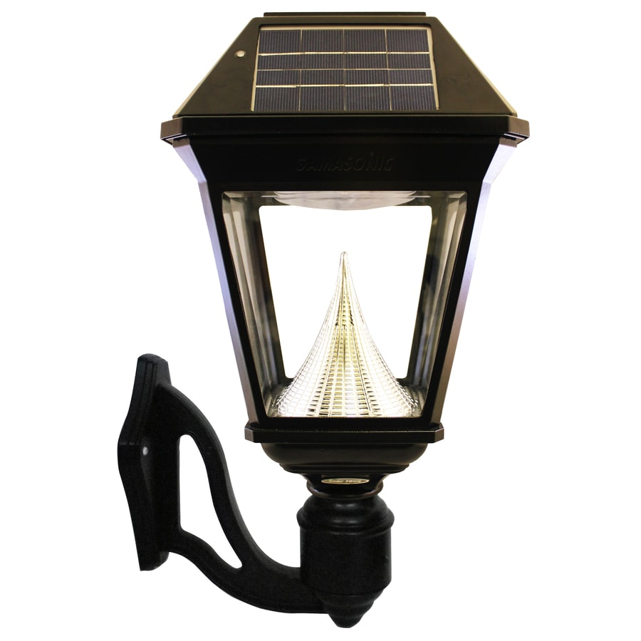 Solar Wall Lantern Lights : Shop Gama Sonic Imperial-2 19-in H LED Black Solar Outdoor Wall Light at Lowes.com