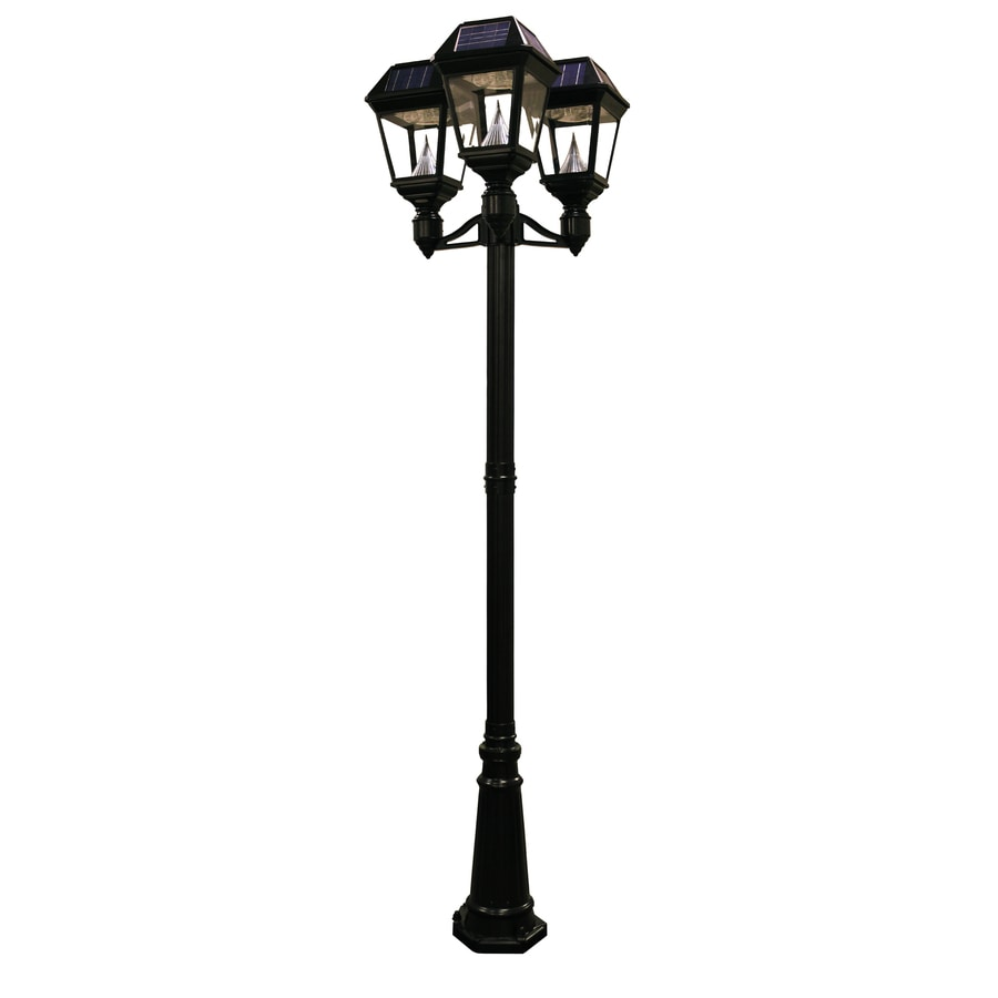 Gama Sonic Imperial-2 95-in H Black Solar LED Complete Post Light