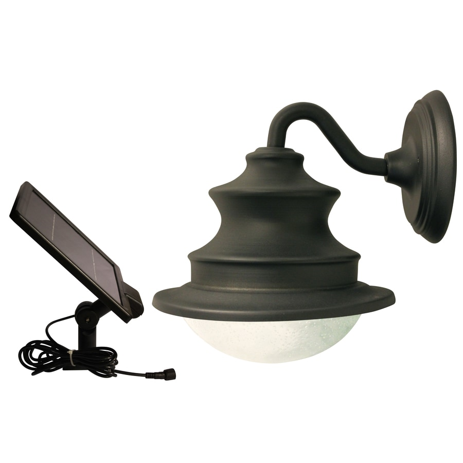 Shop Gama Sonic Barn 10-in H LED Brown Solar Outdoor Wall Light at Lowes.com