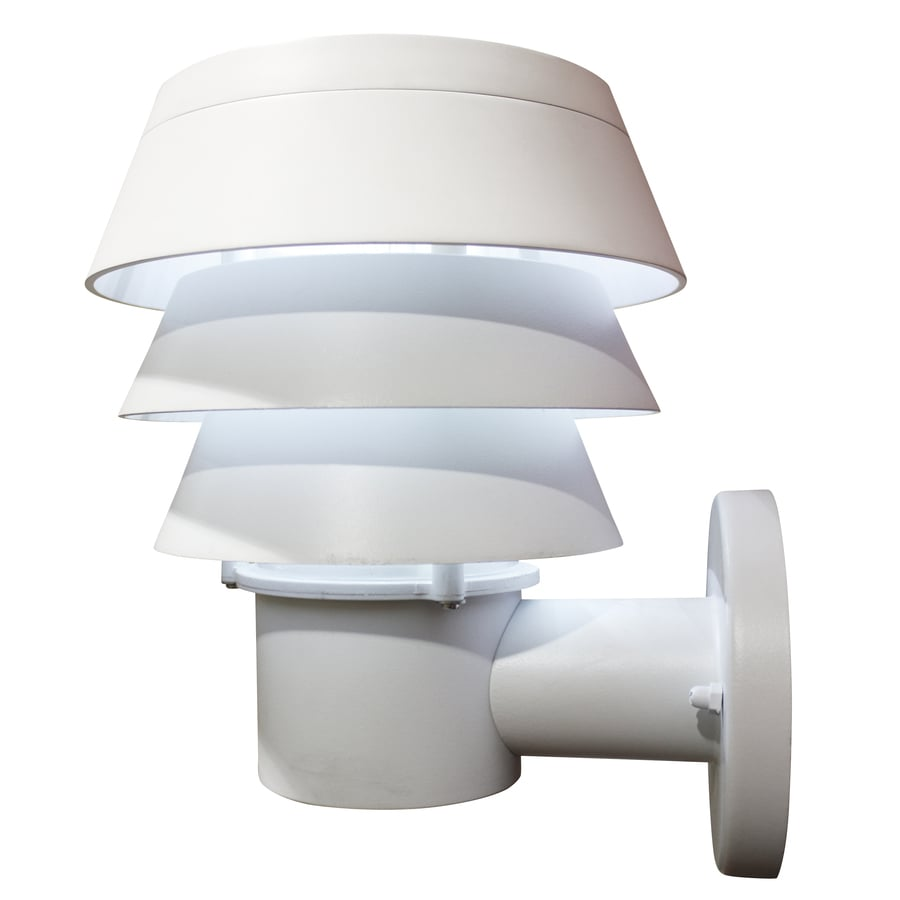 Shop Gama Sonic Triple Tier 10-in H LED White Solar Outdoor Wall Light at Lowes.com