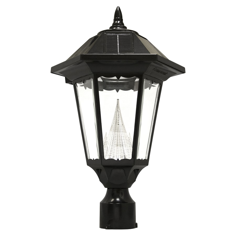 Outdoor Electric Lamp Post: Shop Gama Sonic Windsor 20-in H Black Solar LED Post Light