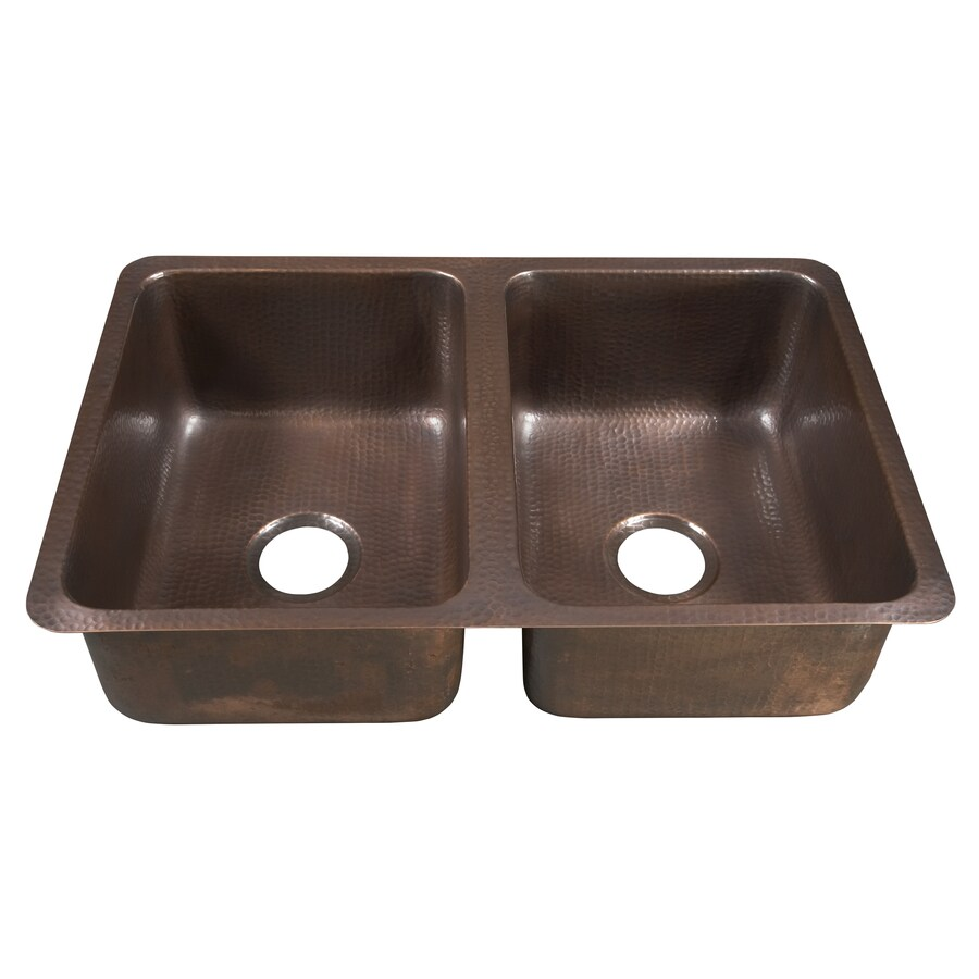 SINKOLOGY Da Vinci 20-in x 31-in Antique Copper Double-Basin Copper Undermount Commercial Kitchen Sink
