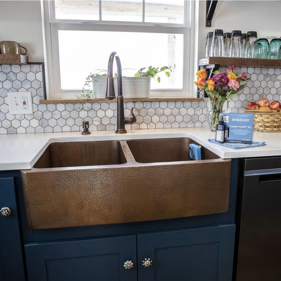 Renovations 15-Gauge Double-Basin Apron Front Copper Kitchen Sink