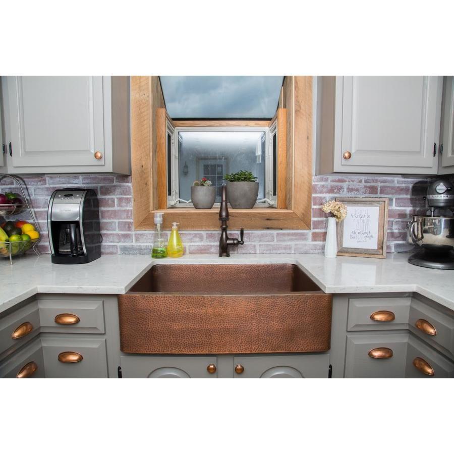 SINKOLOGY Adams 22-in x 33-in Antique Copper Single-Basin Copper Apron Front/Farmhouse Commercial Kitchen Sink