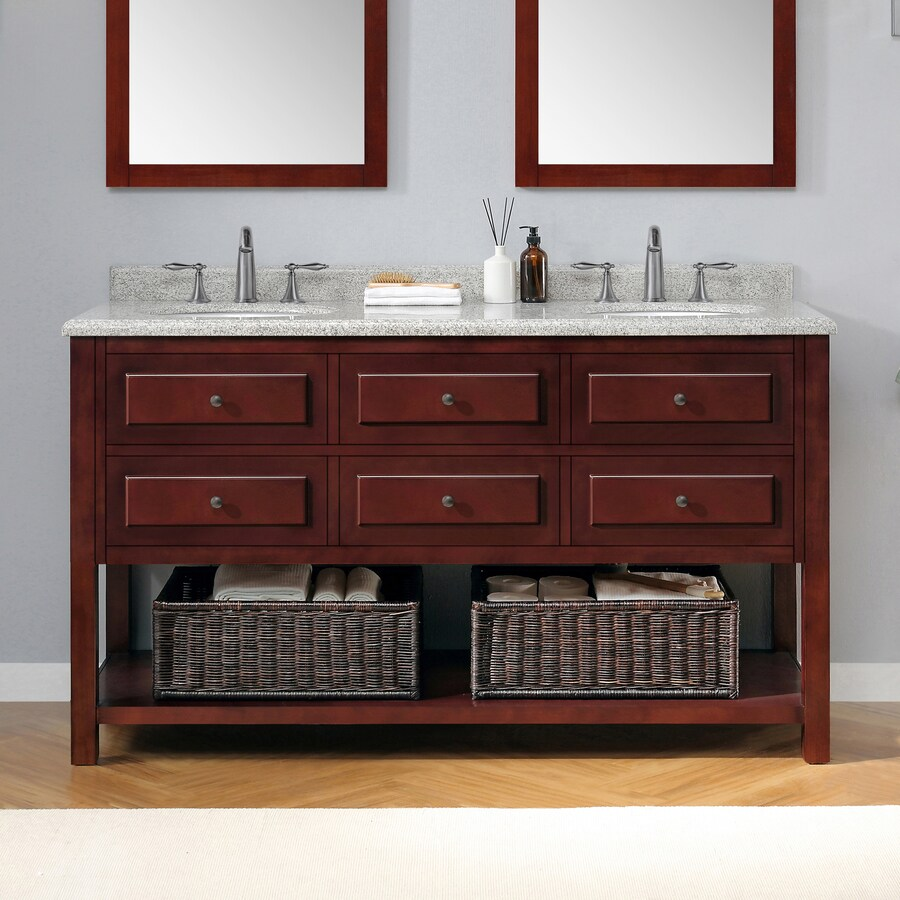 Shop ove decors danny mahogany undermount double sink - Lowes bathroom vanities with sinks ...