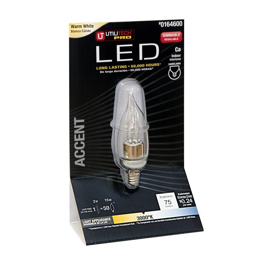 Utilitech 2-Watt (15W) Ca Candelabra Base Warm White (3000K) Decorative LED Bulb
