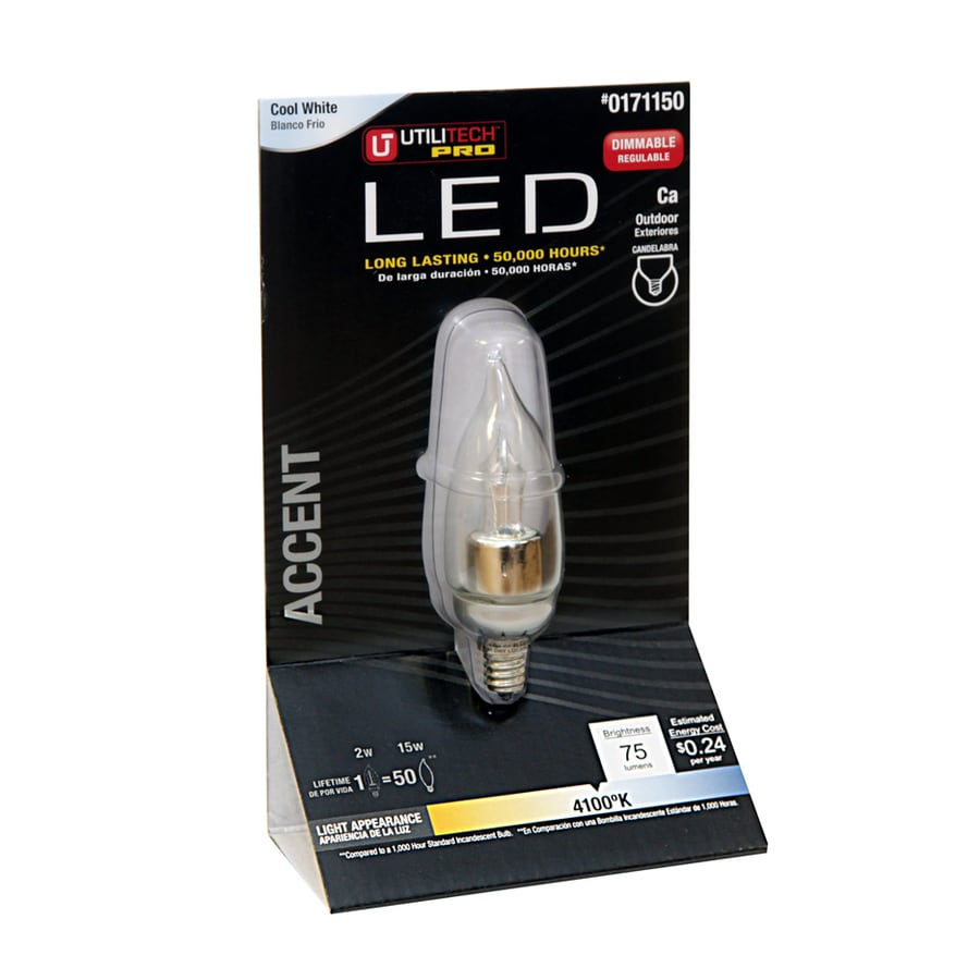 Utilitech 2-Watt (15W Equivalent) 4,100K Cool White Dimmable Decorative LED Light Bulb