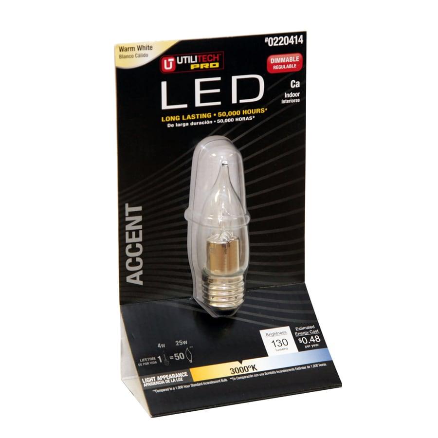 Utilitech 4-Watt (25W Equivalent) 3,000K Warm White Dimmable Decorative LED Light Bulb
