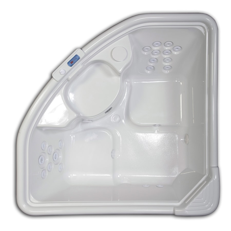 Hydreddi Revolution Revolution 2-Person Biscuit Acrylic Corner Whirlpool Tub (Common: 66-in x 66-in; Actual: 28-in x 66-in x 66-in)