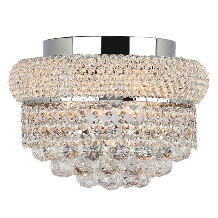 Worldwide Lighting Empire 12-in W Chrome Crystal Ceiling Flush Mount Light