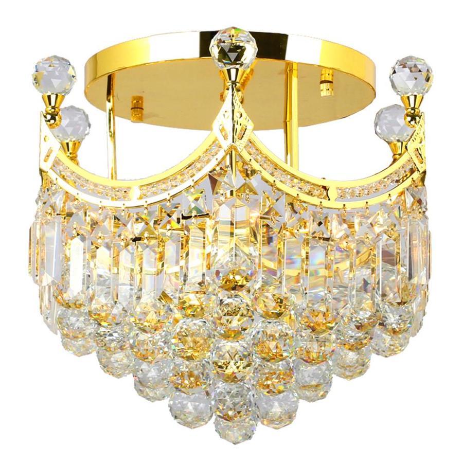 Worldwide Lighting 16-in W Gold Clear Glass Semi-Flush Mount Light