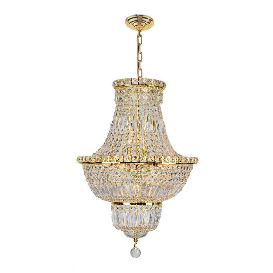 Worldwide Lighting Empire 18-in 12-Light Polished Gold Crystal Empire Chandelier
