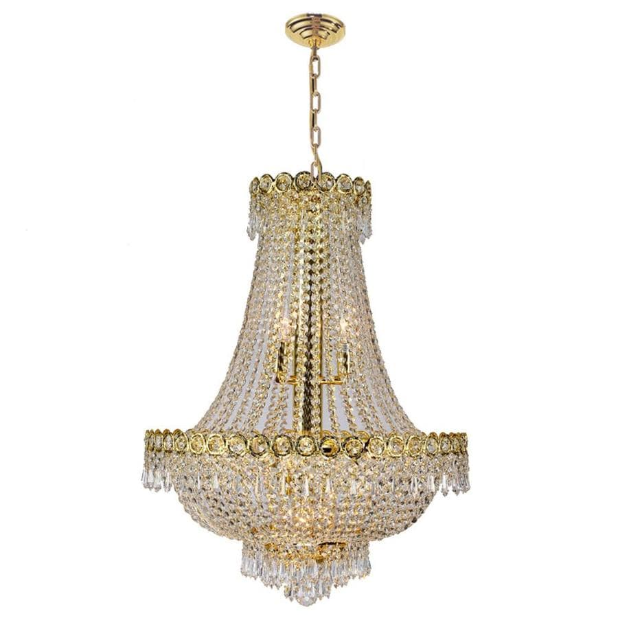 Worldwide Lighting Empire 20-in 12-Light Polished Gold Crystal Empire Chandelier