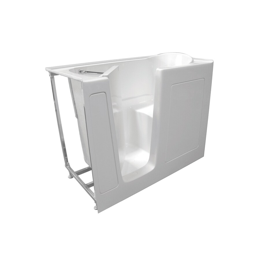Total Care in Bathing Bs Series 52-in L x 29.75-in W x 40-in H White Gelcoat and Fiberglass Rectangular Walk-in Whirlpool Tub and Air Bath
