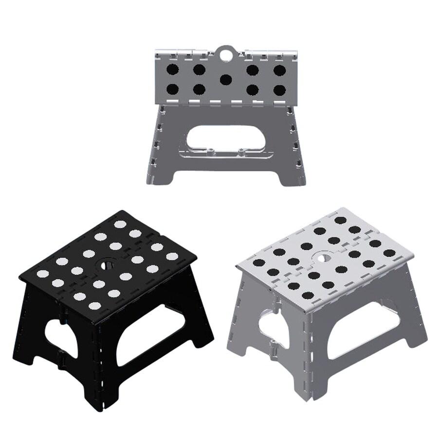 Shop 1 step black white plastic step stool at - Witte plastic stoel ...
