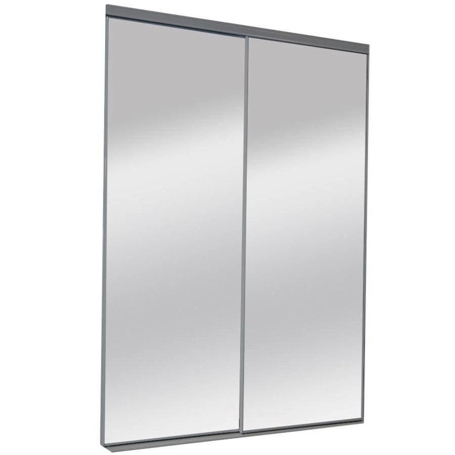 ReliaBilt Mirror Panel Sliding Closet Interior Door (Common: 60-in x 80-in; Actual: 60-in x 80-in)