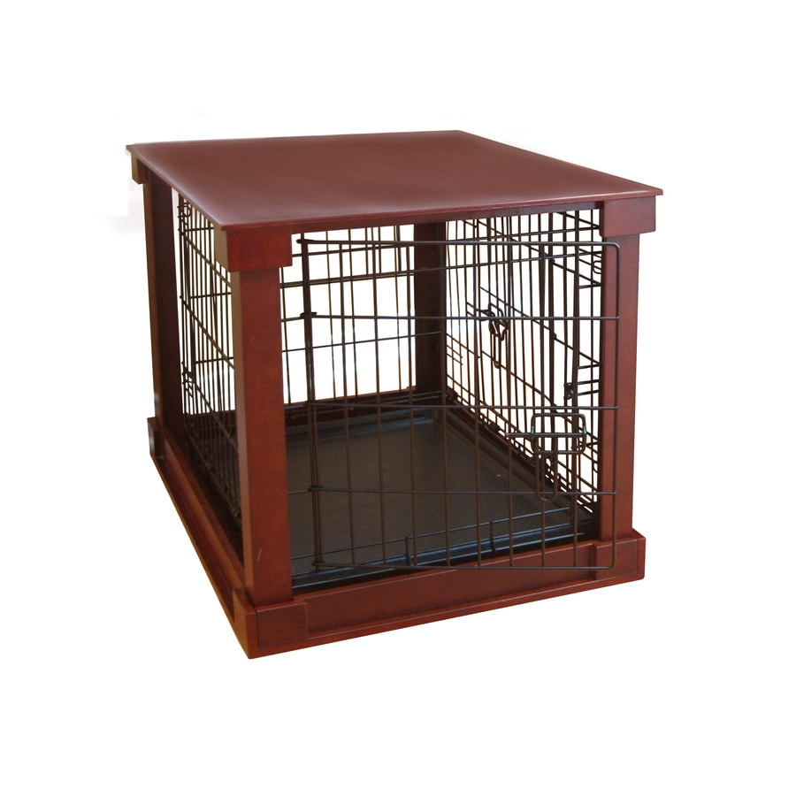 Merry Pet 2.25-ft x 1.7-ft x 1.87-ft Solid Wood Veneer Walnut Finish Collapsible Plastic and Wire Pet Crate