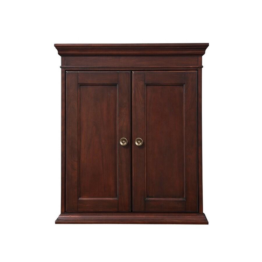 Shop allen roth rosemere 24 in w x 28 in h x 7 in d auburn poplar bathroom wall cabinet at - Allen roth bath cabinets ...